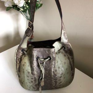 Gucci Snakeskin Shoulder Bag Silver Hardware